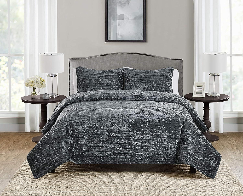 Tahari Home | Bronn Bedding Collection | Luxury Premium Ultra Soft Quilt Coverlet, Comfortable 3 Piece Set, Designer Modern Stylish Crushed Velvet, Full/Queen, Grey