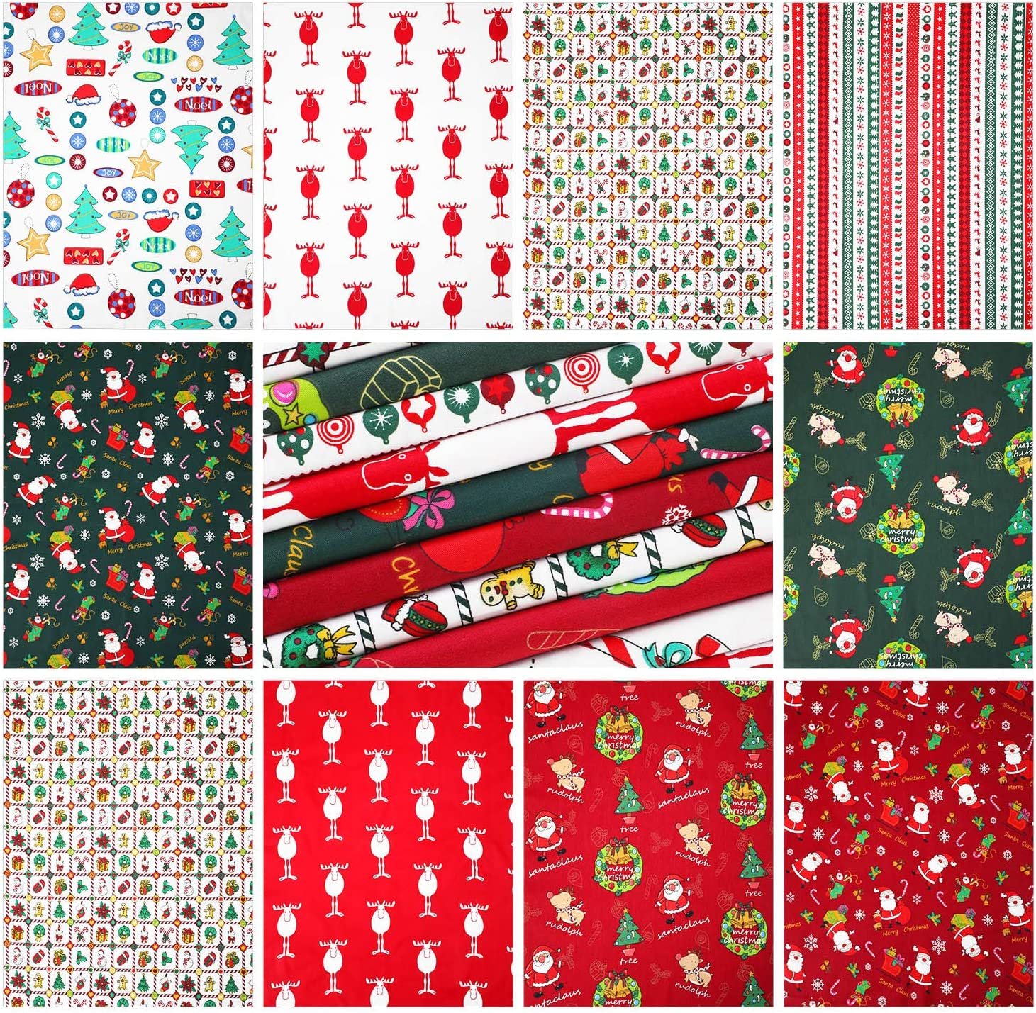 Arts, Crafts & Sewing Fabric 10 Pieces Christmas Cotton Fabric ...