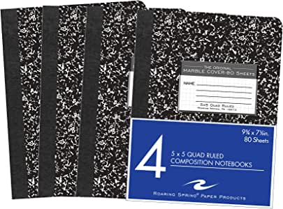 """Roaring Spring Graph Ruled Hard Cover Composition Book, 4 Pack, 9.75"""" x 7.5"""" 80 Sheets, Black Marble Cover"""