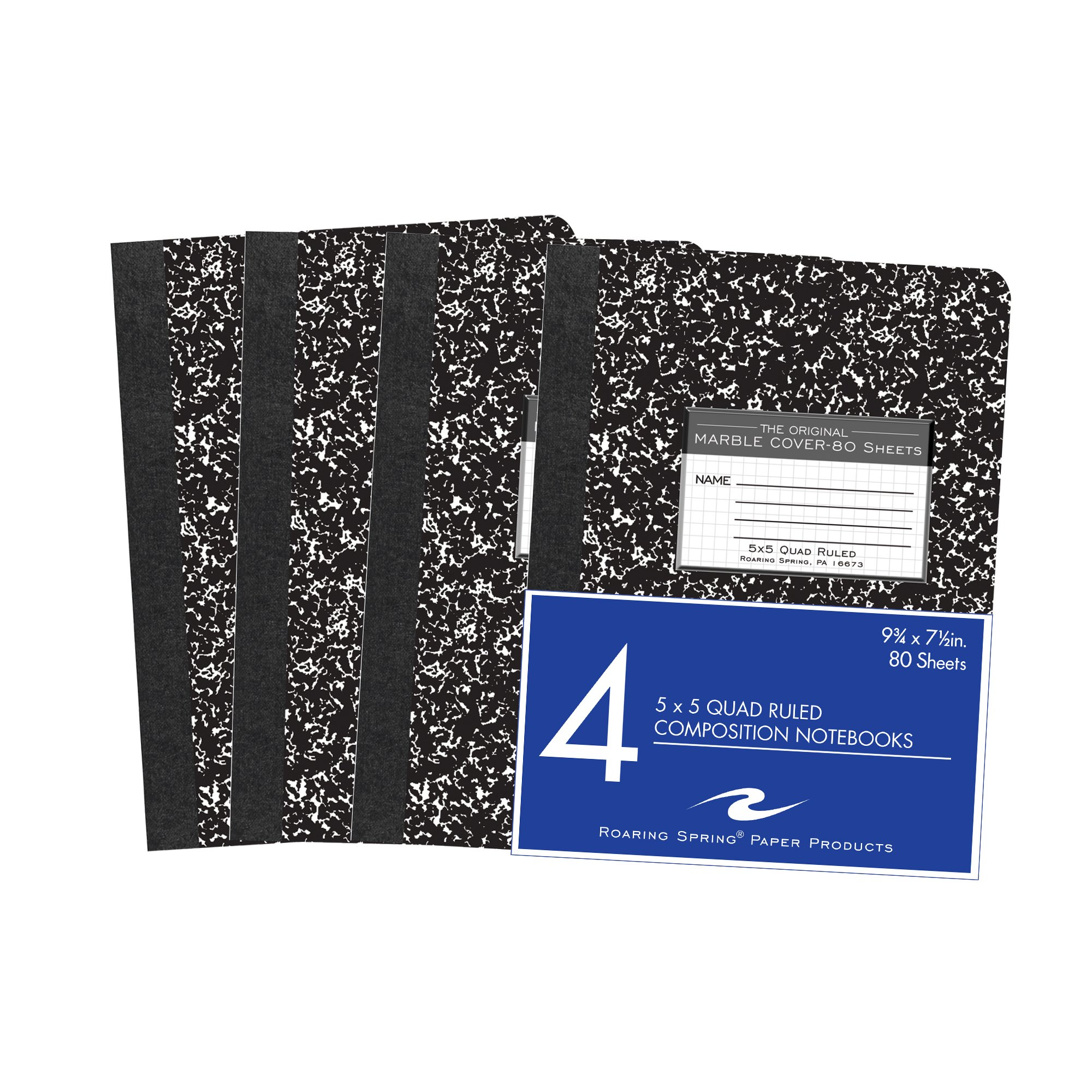 Roaring Spring Hard Cover Composition Book, 9 3/4'' x 7 1/2'', 5x5 Graph Ruled, 80 sheets 4/pk