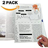 """MagniPros (2 Pack) 3X(300%) Full Page Magnifier / Plastic Magnifying Sheet Fresnel Lens 7.5"""" X 10.5"""""""