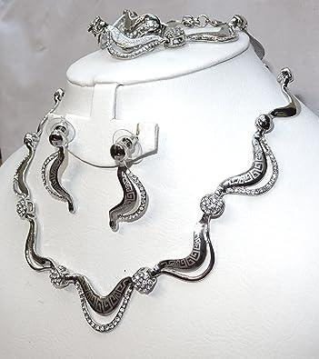 d1d423d5bef9 Hermoso diseño de plata de calidad con Rhinestone boda novia collar conjunto  de joyas  Amazon.es  Joyería