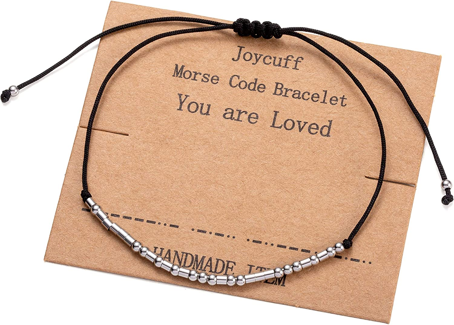 Joycuff Morse Code Bracelets for Women Funny Inspirational Jewelry Birthday Chritmas Gifts for Mother Aunt Daughter Sister Best Friend Adjustable Bead Wrap Bracelet
