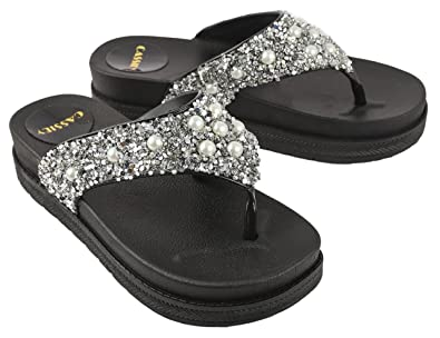 c46e88325abcd3 Irsoe Cassiey Women Flip Flop and Fashion Slippers Stones Beautiful  Comfortable Sole Wedgesl (Silver)