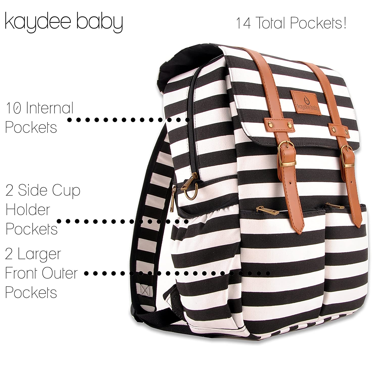 /… Kaydee Baby Unisex Canvas Diaper Tote Backpack Bag with Stroller Straps and Changing Pad White and Black Stripe For Men and Women
