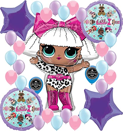 Party Supplies Birthday LOL Balloons Bouquet Decorations Bundle For (XL SUPERSHAPE DIVA)