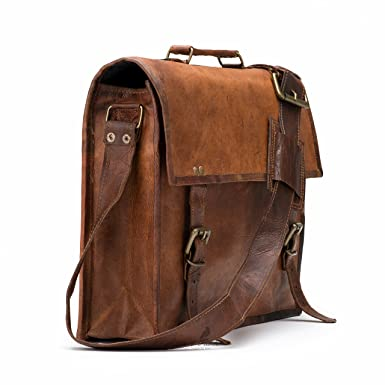 a4ccec3be2f9 Image Unavailable. Image not available for. Color  Moroccan Leather Retro  Leather Briefcase Laptop Messenger Bag shoulder bag