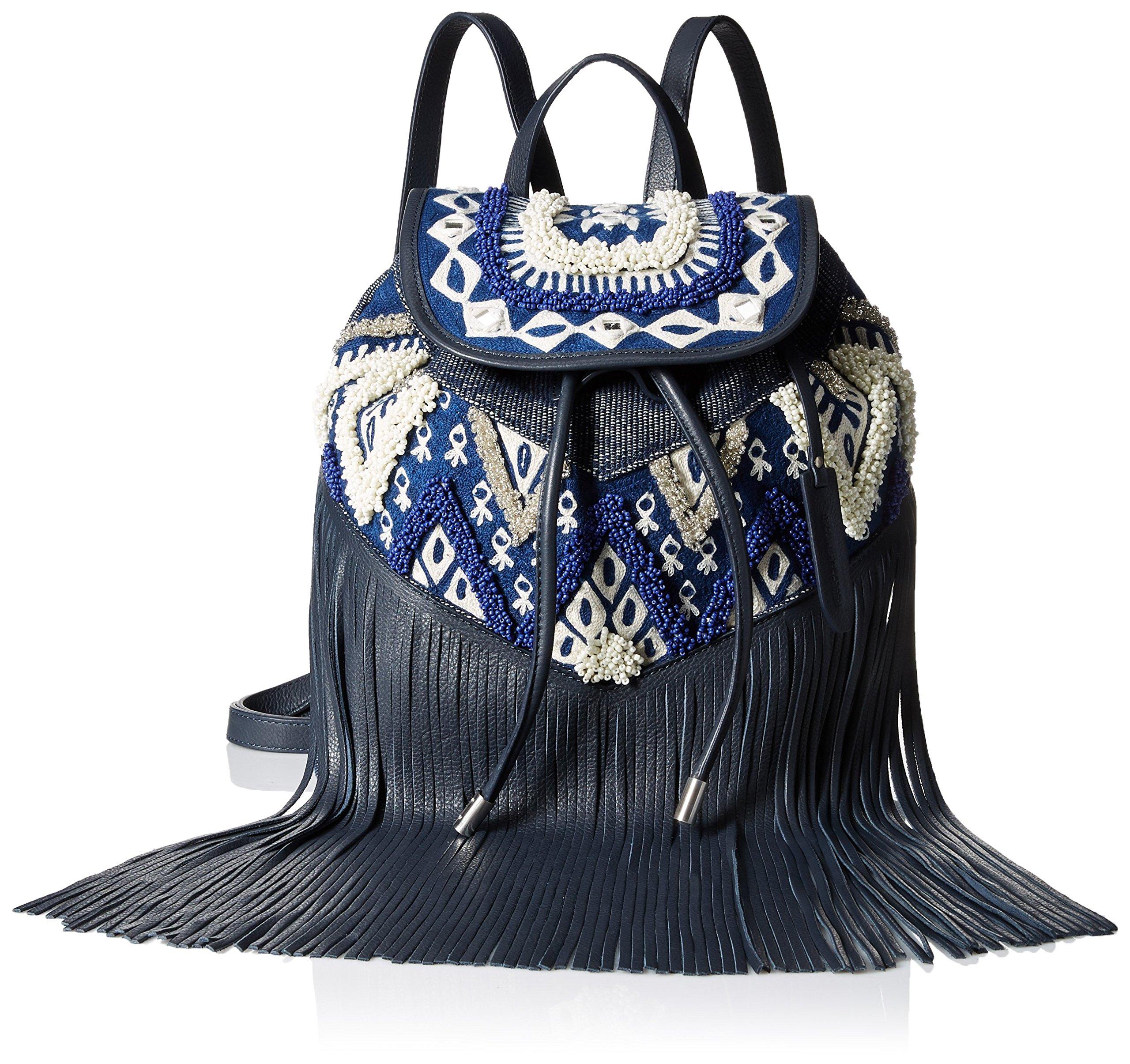Rebecca Minkoff Mumbai Fringe Back pack, Navy Blue/White/Multi, One Size