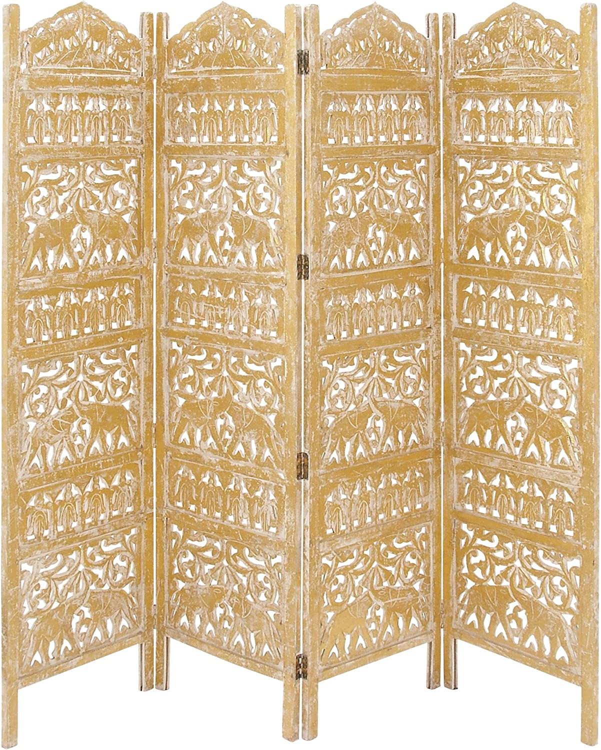 """Deco 79 Traditional Carved Wood 4-Panel Room Divider, 72"""" H x 80"""" L, Weathered Gold Finish"""