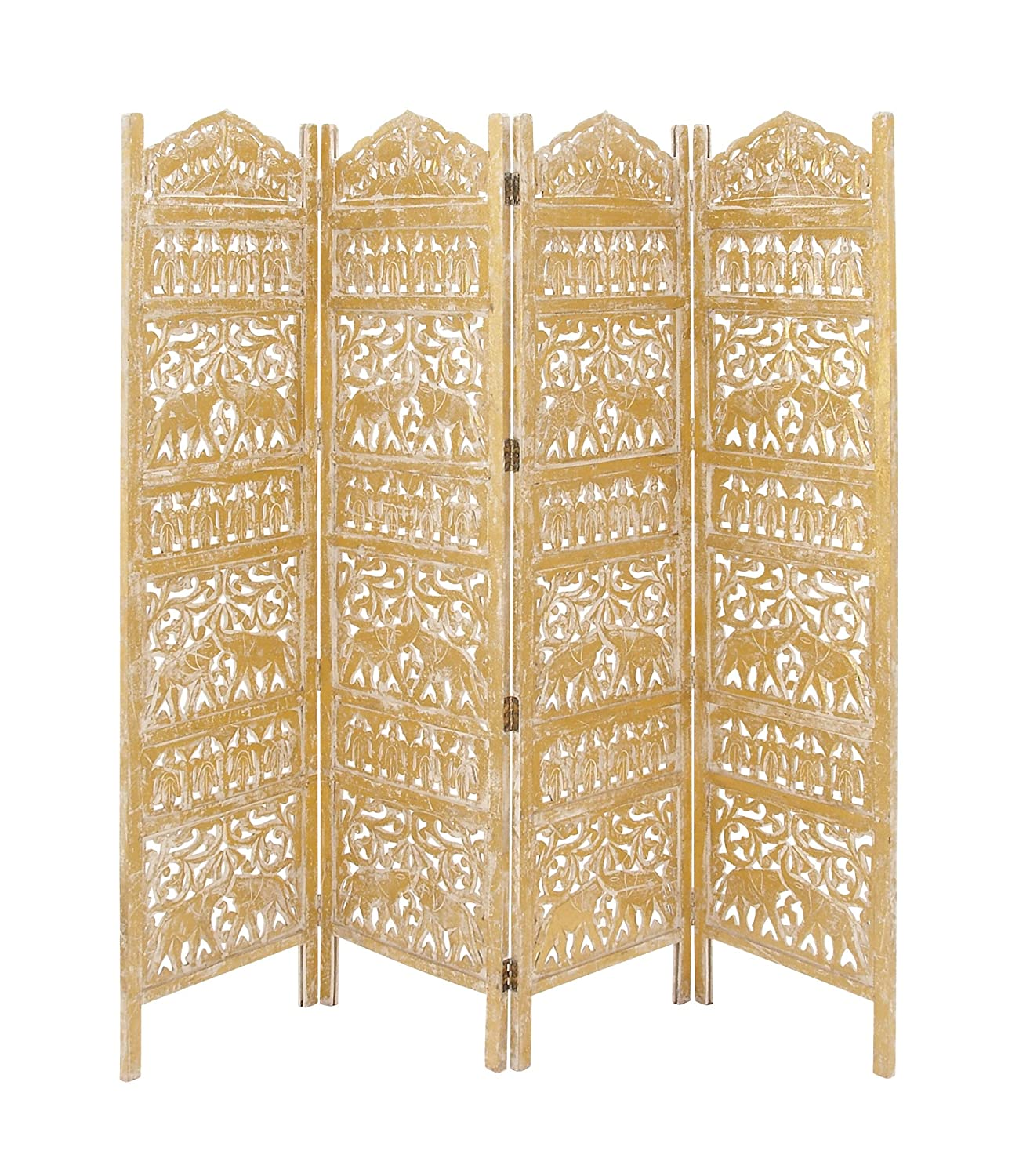 Amazon.com: Deco 79 96075 Wood Gold 4 Panel Screen, 80\