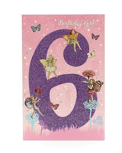 Tarjeta de cumpleaños para niñas de 6 años con diseño de ...