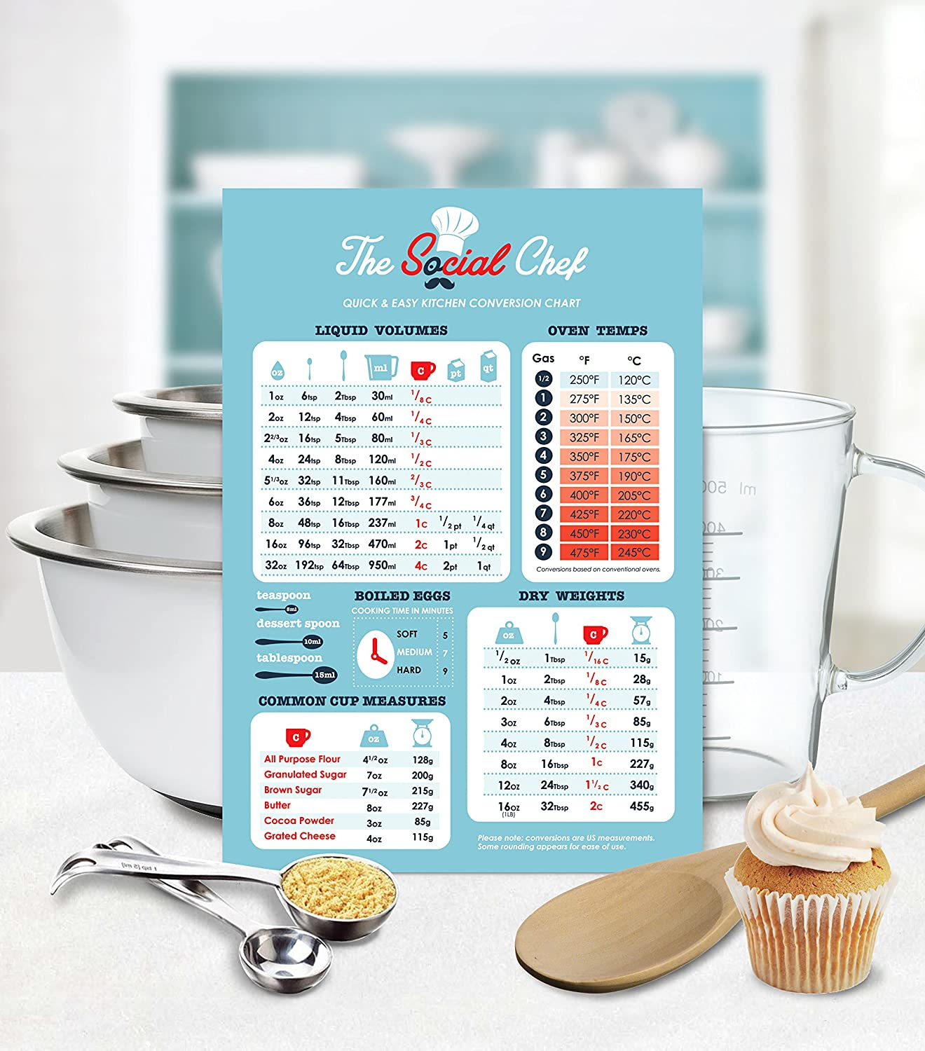 Amazon magnetic kitchen conversion chart by the social chef amazon magnetic kitchen conversion chart by the social chef kitchen dining nvjuhfo Images