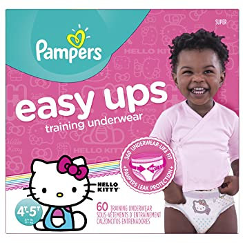 6ac67cb84a1 Pampers Easy Ups Pull On Disposable Training Diaper for Girls, Size 6  (4T-5T), Super Pack, 60 Count