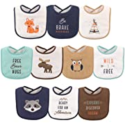 Hudson Baby Unisex Baby Drooler Bibs with Fiber Filling, Raccoon 10-Pack, One Size