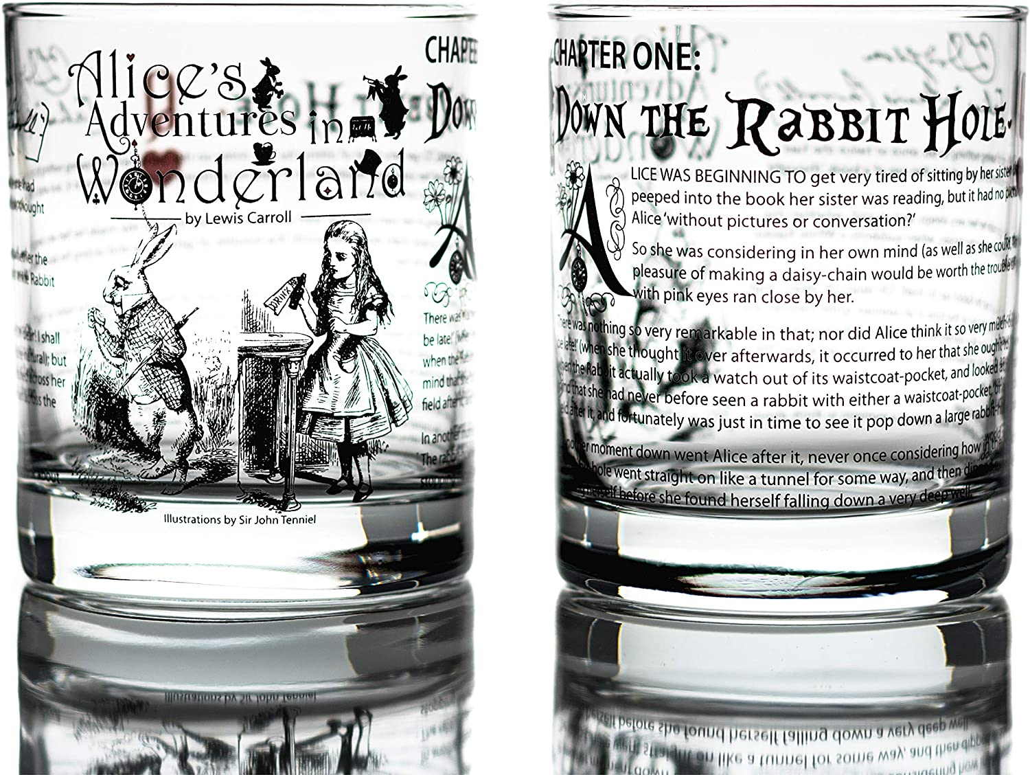 Greenline Goods Whiskey Glasses - Alice in Wonderland (Set of 2) | Literature Rocks Glass with Lewis Carroll Book Images & Writing