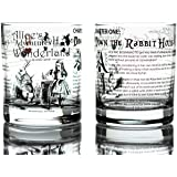 Greenline Goods Whiskey Glasses - Alice in Wonderland (Set of 2)   Literature Rocks Glass with Lewis Carroll Book Images & Wr