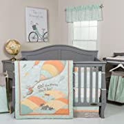 Trend Lab Dr. Seuss Oh The Places You'll Go! Unisex 5 Piece Crib Bedding Set, Orange/Yellow/Green and White