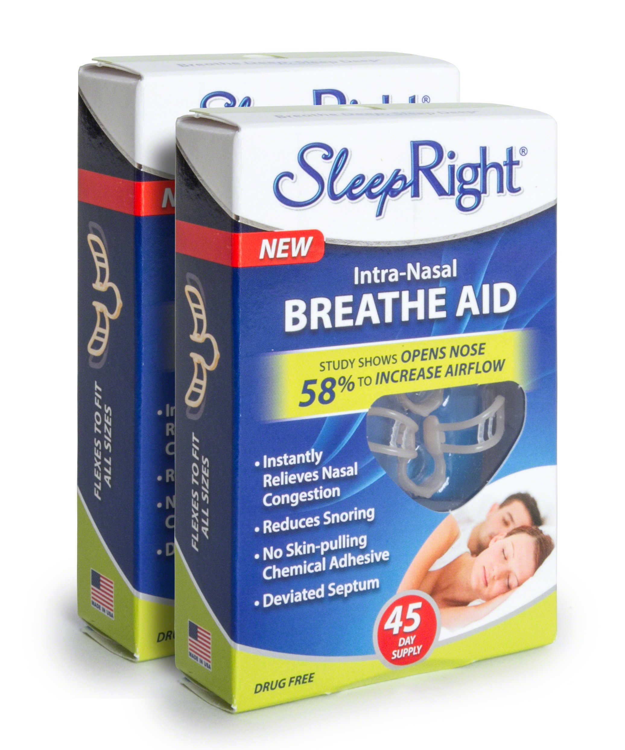 SleepRight Intra-Nasal Breathe Aids – Breathing Aids For Sleep – Nasal Dilator – 45 Day - 2 Pack