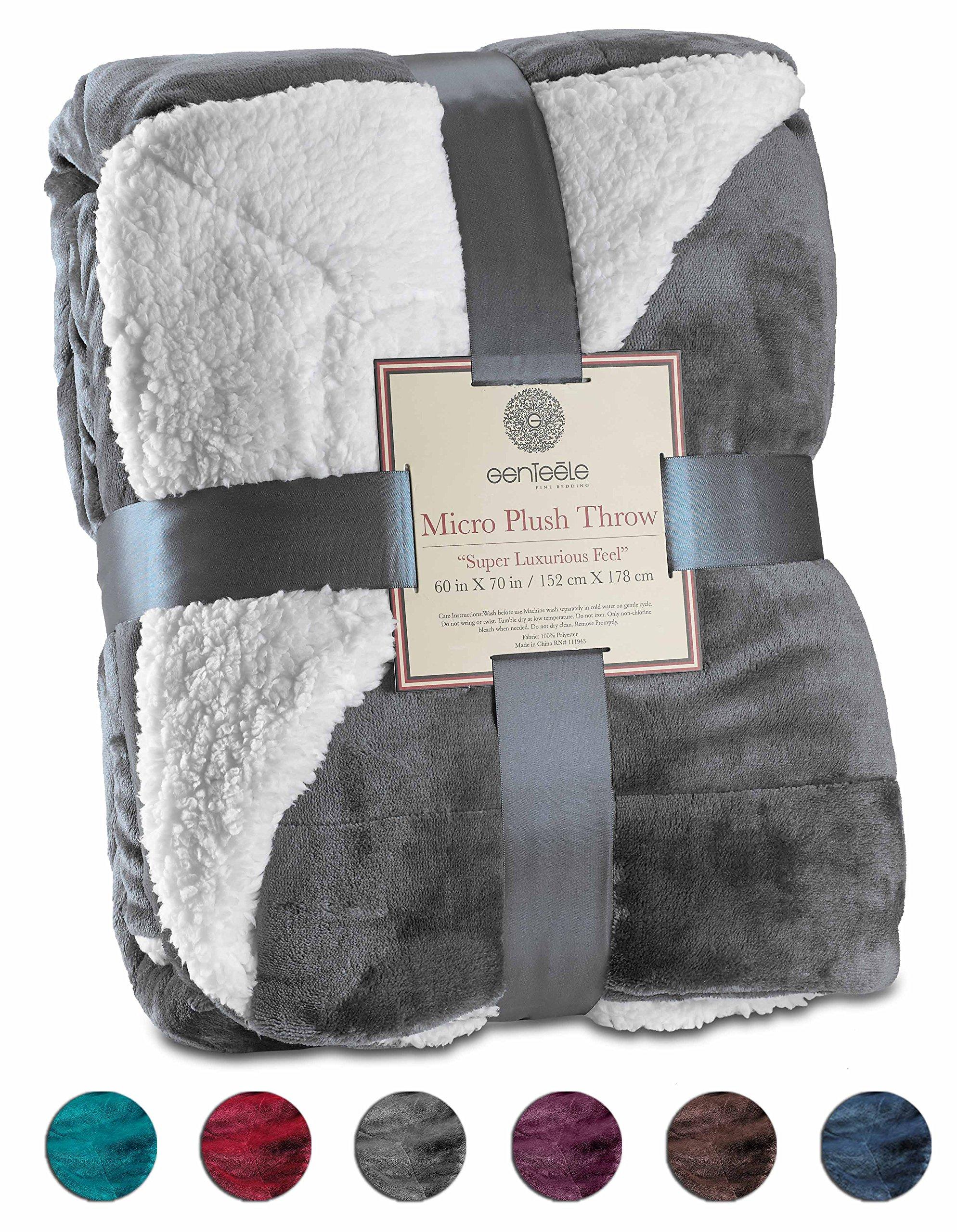Genteele Sherpa Throw Blanket Super Soft Reversible Ultra Luxurious Plush Blanket (50'' X 60'', Gray)