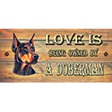 Birthday Occasion Doberman Wooden Funny Sign Wall Plaque Gift Present Love is Being Owned By A Doberman