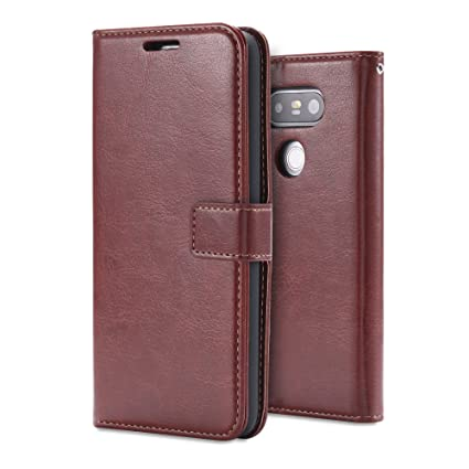 size 40 b3bf0 481c5 LG G5 Case,Aomo LG G5 Leather Wallet Case Cover[Book Style] [Card  Slot][Flip Case][Stand Case]PU Leather Protective Phone Case for LG G5  2016-Brown