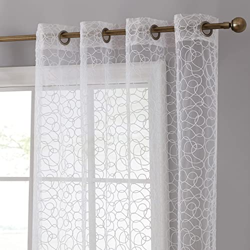 HLC.ME Audrey Embroidered Premium Soft Decorative Sheer Voile Light Filtering Grommet Window Treatment Curtain Drapery Panels for Bedroom Living Room – Set of 2 Panels 54 x 96 inches Long, White