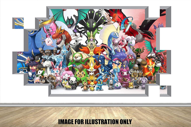 Pokemon 3D Block Smash Home Childrens Boys Girls Lounge Bedroom Nursery Wall Sticker Wall Art Transfer Decal 2 Sizes