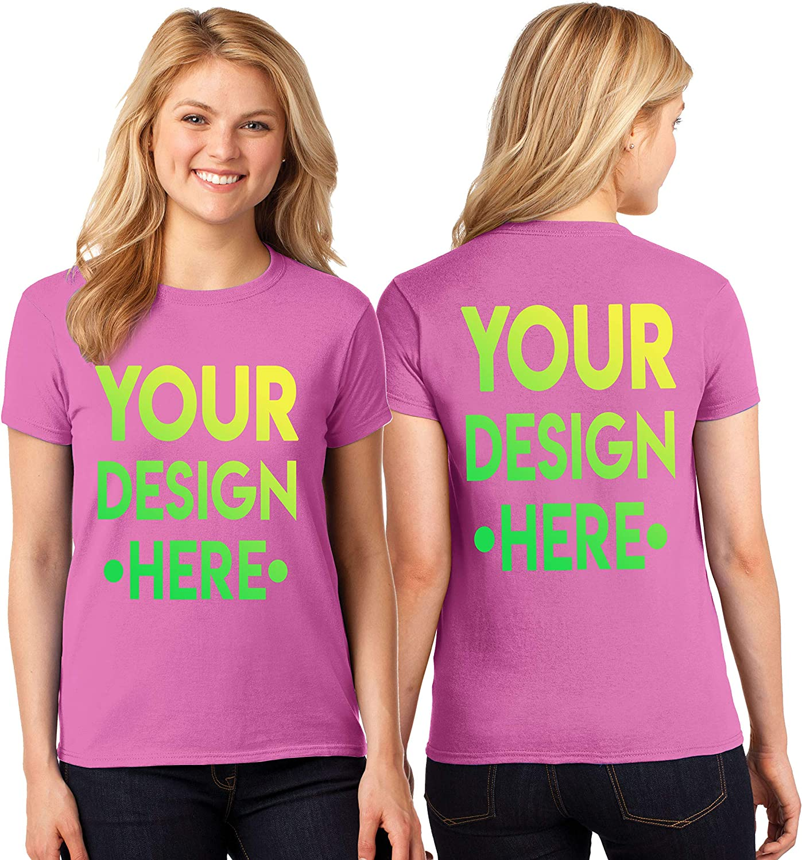 PERSONALISED T-SHIRT LADIES WOMENS T SHIRT CUSTOM PRINT LOGO DESIGN PRINTED TOP
