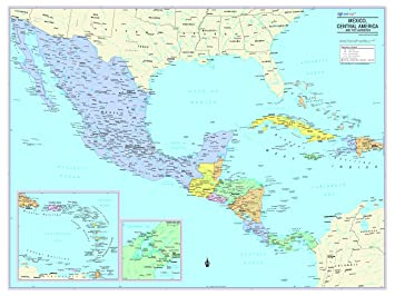 Cool Owl Maps Mexico, Central America, and Caribbean Wall Map - Rolled  Laminated (32\