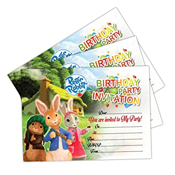 20 X Peter Rabbit Girls Kids Birthday Party Invitations Invites