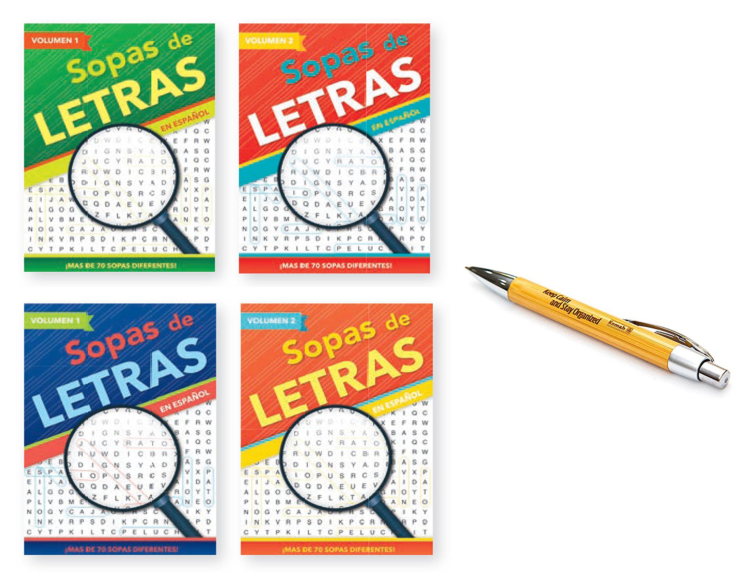 Kemah Craft 5010KC Set of 4 Sopas De Letras Puzzle Books with Kemah Bamboo Pen