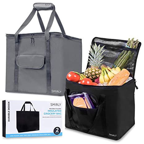 335324f65c1c Smirly Insulated Reusable Grocery Bags: 2 Pack of Heavy Duty Shopping Bags  with Zippered Top and Sturdy Handles - Large Thermal Insulated Tote Bag for  ...