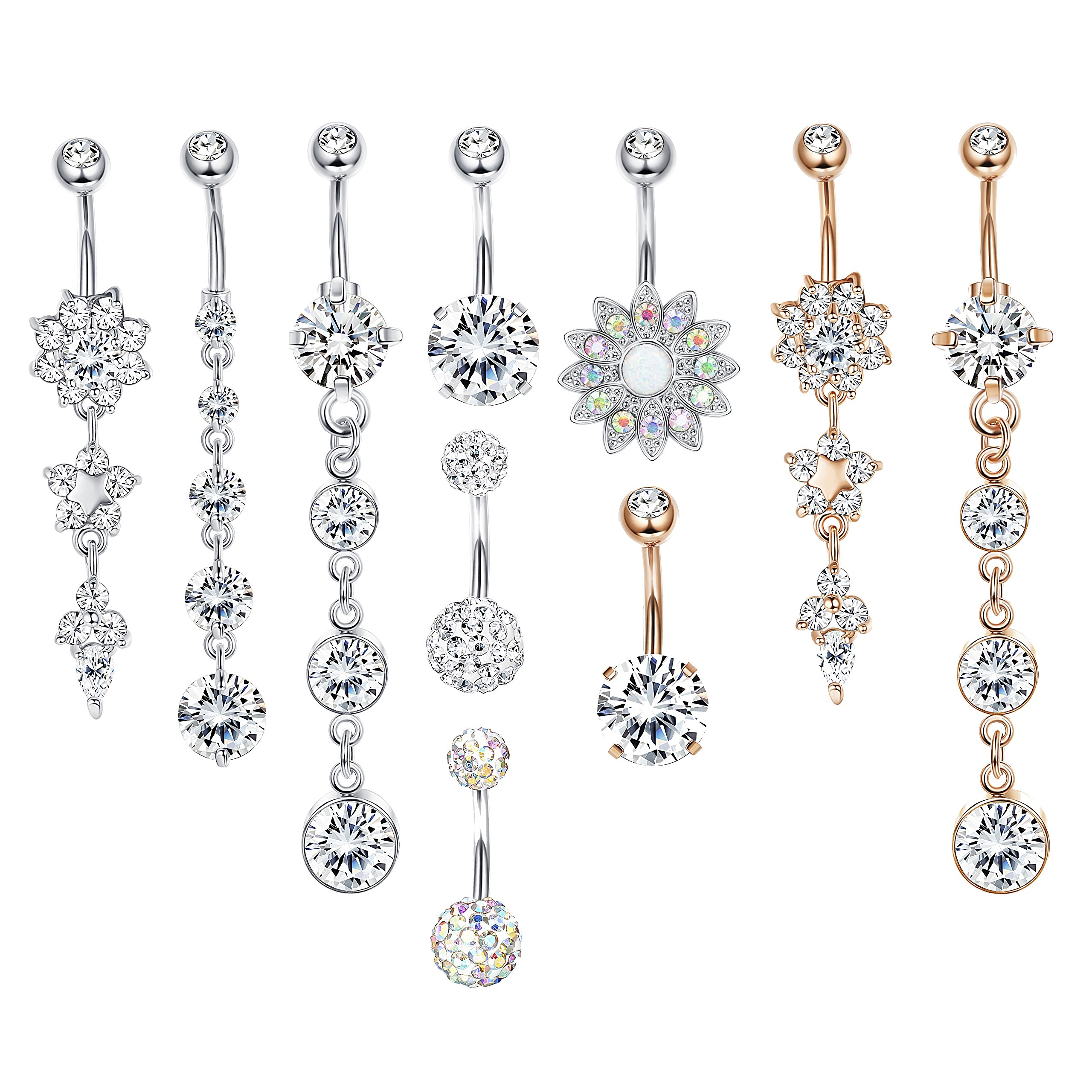 LOYALLOOK 4-6Pcs Dangle Belly Button Rings for Women Girls Navel Rings Curved Barbell CZ Body Piercing 14G (style E:10pcs silver rose gold)