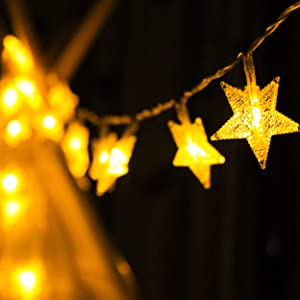 Star String Lights, Battery Powered Star Lights, Decorations with 40 Clear Warm White Stars, Ideal for Rooms, Holiday, Christmas, Birthday, Party, Weatherproof for Indoor and Outdoor, 16.4FT