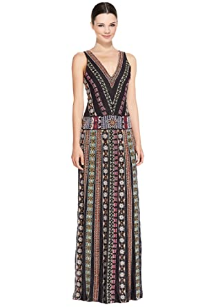 alice + olivia Ersa Bead Embroidered V-Neck Evening Gown Dress at ...