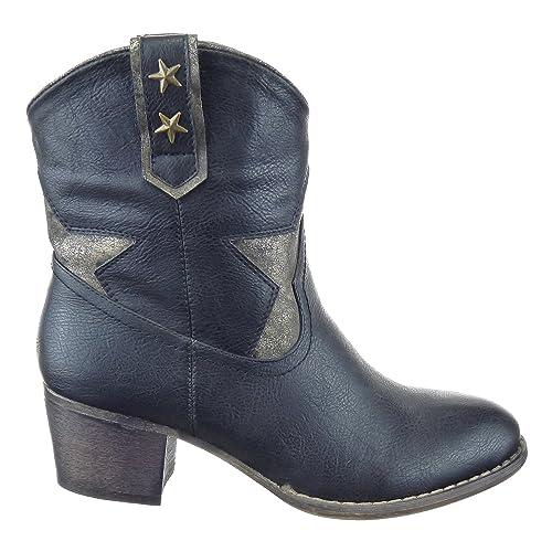 Sopily - Zapatillas de Moda Botines Santiags - Cowboy - Vaquero Media Pierna Mujer Estrella Talón