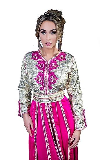MODE ET CAFTAN DESIGN Takchita marocaine Zephyr en brocard et charmeuse  brodée mariage marocain bb7c92260e7