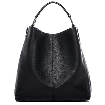 39556d1f102f6 BACCINI Beuteltasche echt Leder Elisa groß Hobo Bag Schultertasche Ledertasche  Damen schwarz