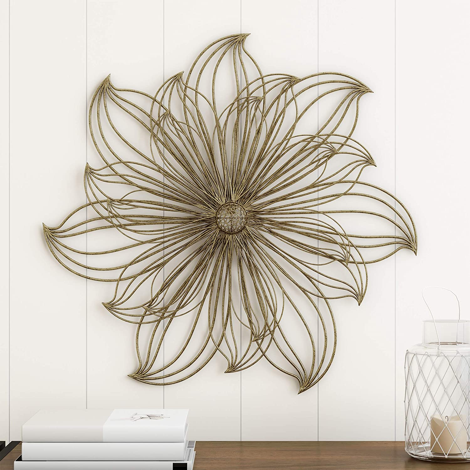 Home Lavish Wall Decor-Metallic Layered Large Wire Flower Sculpture Modern Hanging Accent Art for Living Room, Bedroom or Kitchen, Gold