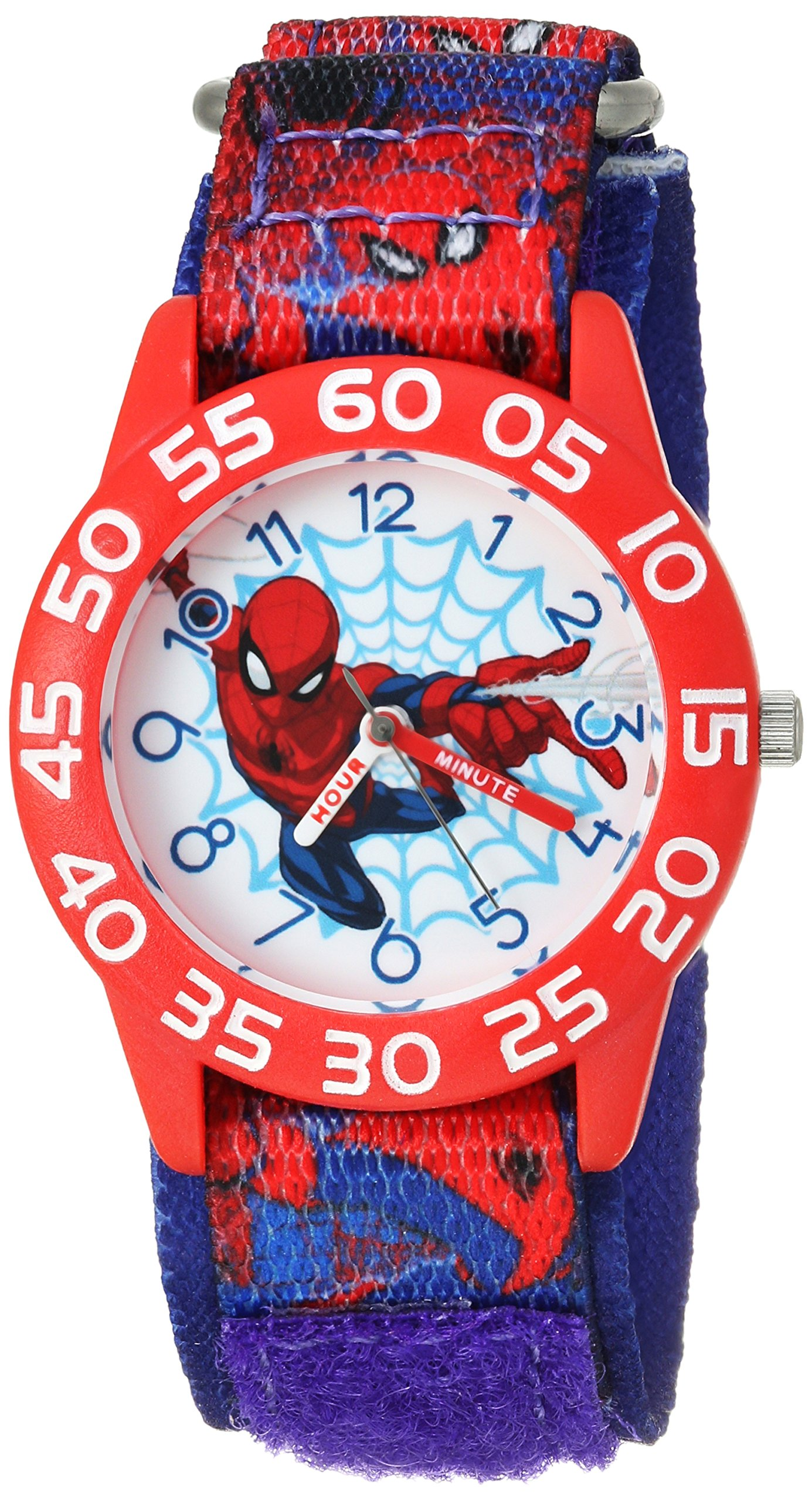 MARVEL Boys Spider-Man Analog-Quartz Watch with Nylon Strap, Blue, 16 (Model: WMA000190)