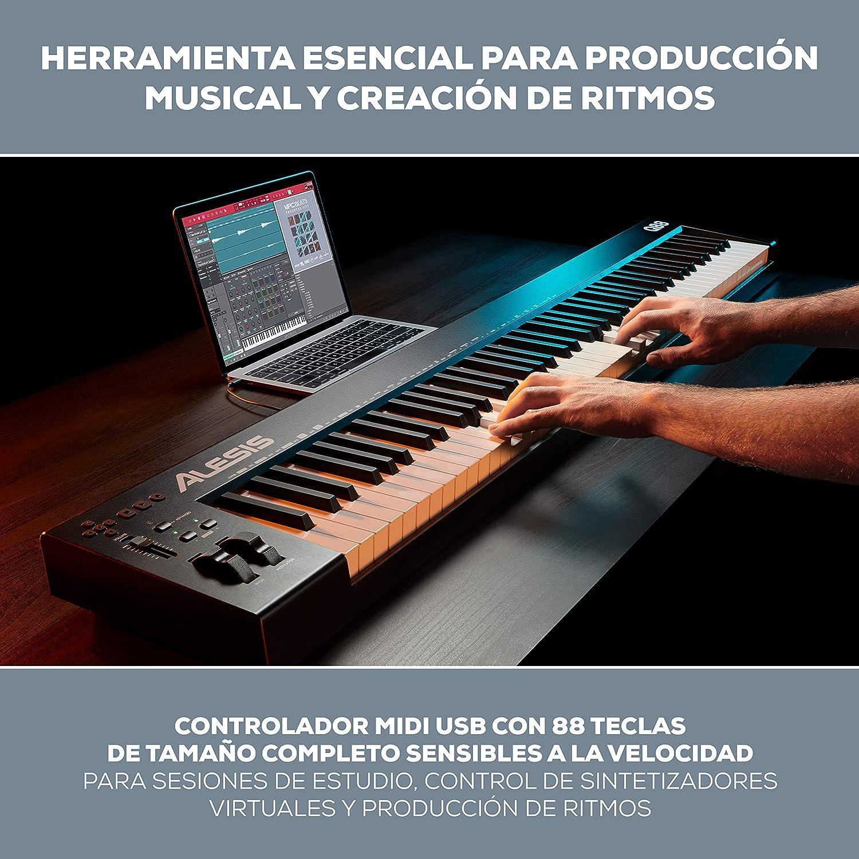 Alesis Q88 MKII - Teclado controlador MIDI USB de 88 teclas semipesadas, de tamaño completo, sensibles a la velocidad y software de producción musical