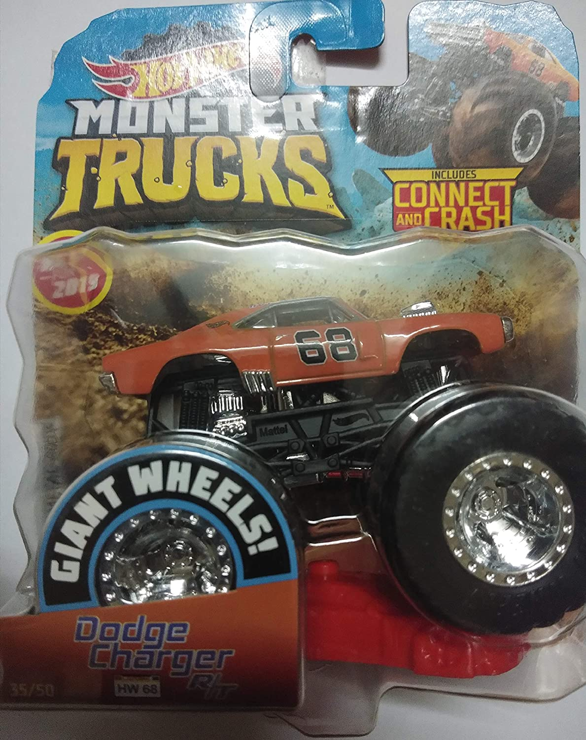 Buy Hot Wheels Mattel Dodge Charger R T 68 Giant Wheels Monster Trucks Include Connect And Crash Car Orange Online At Low Prices In India Amazon In