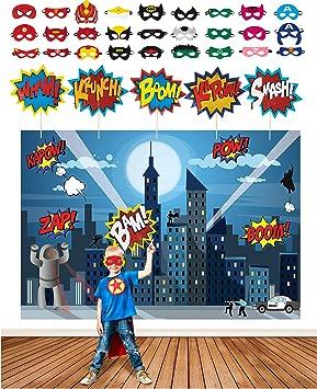 Superhelden Partyzubehör Set Mit 2 1 M Superhelden Hintergrund 28 Superhelden Masken Und 6 Superhelden Foto Träger Requisiten In Einer Comic Buch Geschenkbox Spielzeug