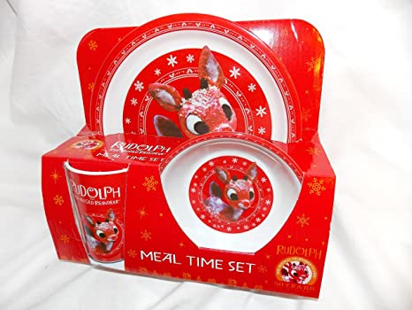 Rudolph the Red Nosed Reindeer Christmas Dinnerware Set - 3 piece Kids Set Plate Bowl and & Amazon.com | Rudolph the Red Nosed Reindeer Christmas Dinnerware Set ...