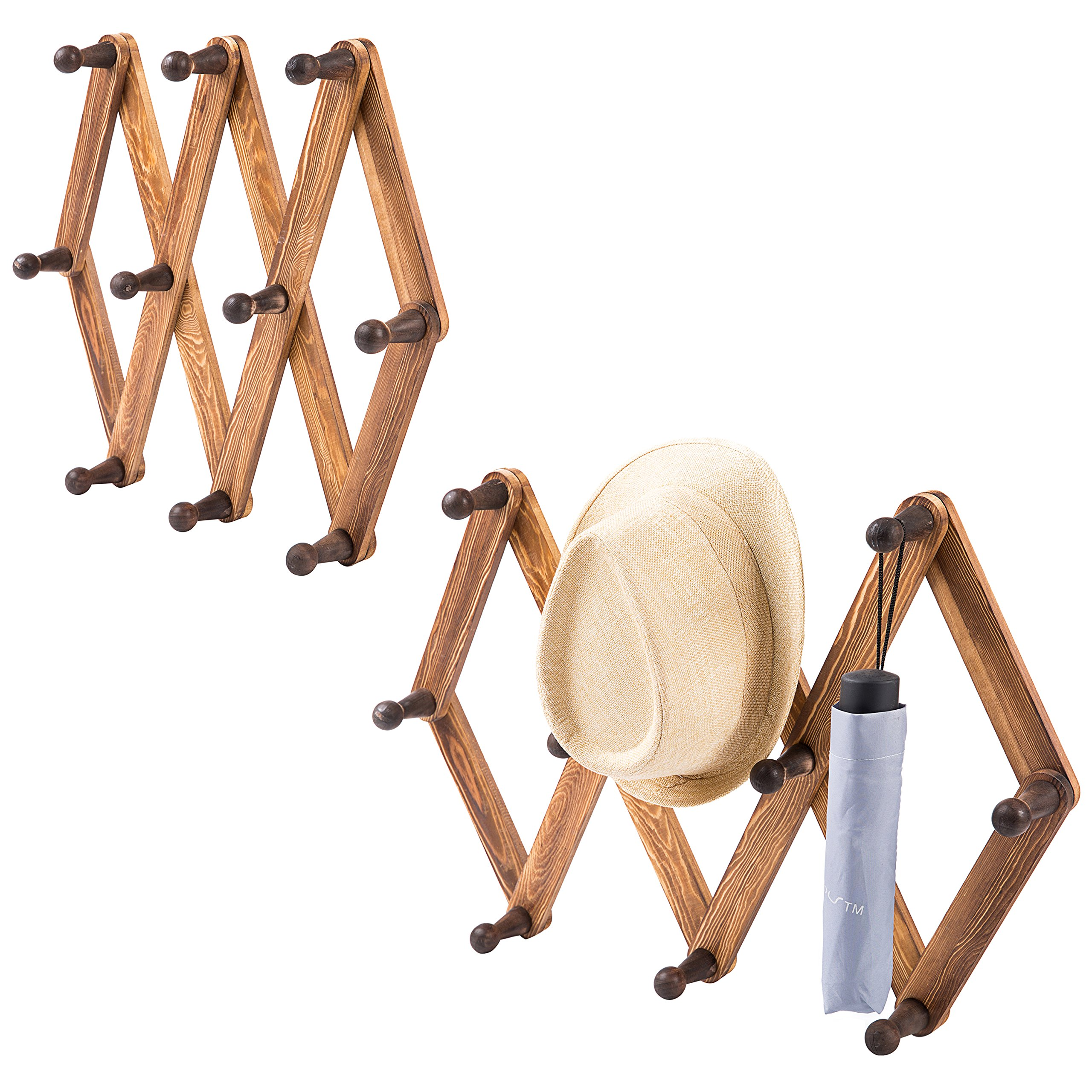 10 Hook Torched Wood Wall Mounted Expandable Accordion Peg Coat Rack Hanger, Set of 2