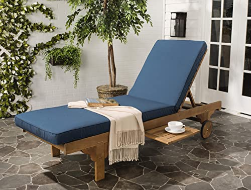 Safavieh Newport Chaise Lounge Chair, Natural Navy