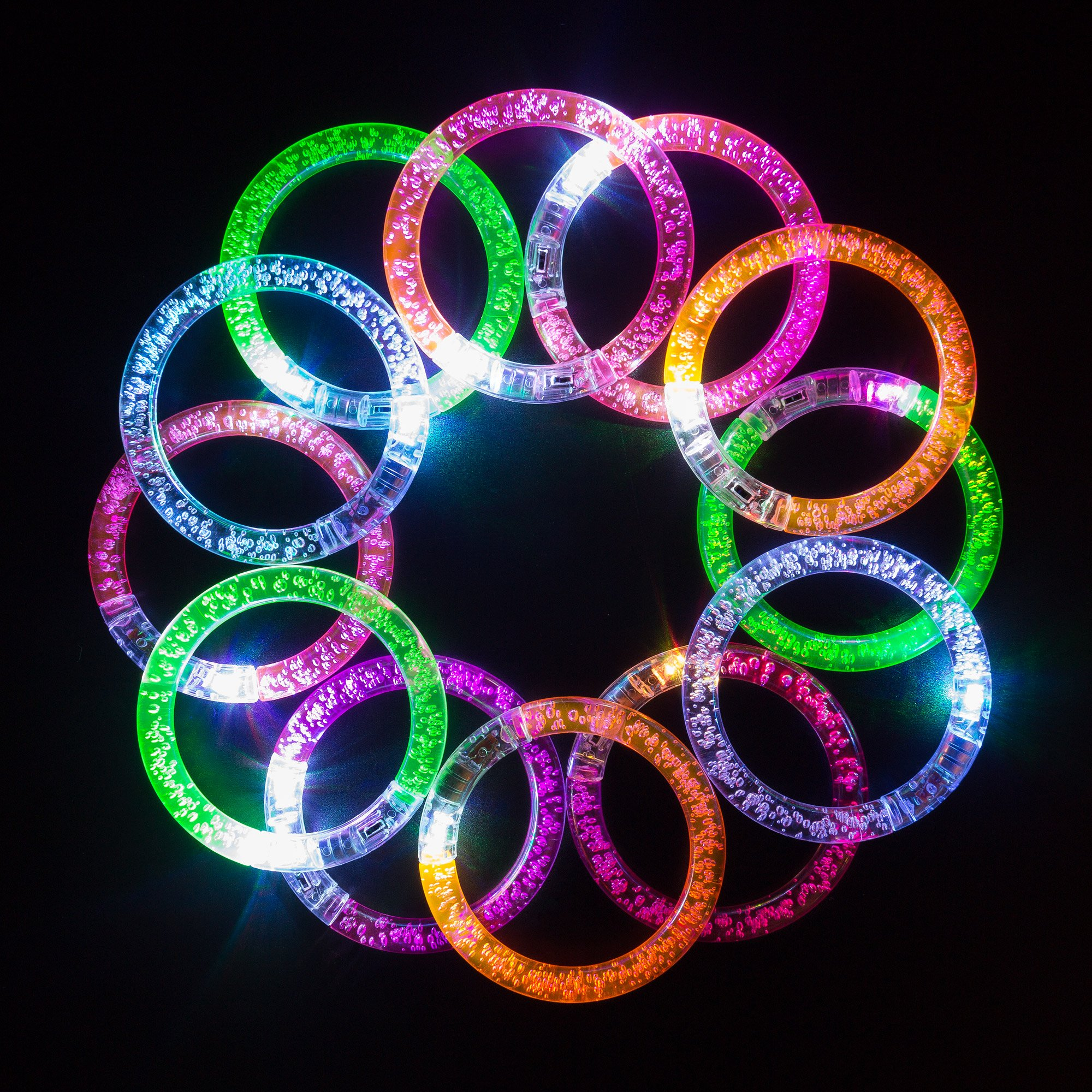 Coral Entertainments Led Bracelets 12 Pack + 12 Replacement Batteries Premium Glow in The Dark, Great for Parties, Weddings Birthdays and More. Super Safety Multicolor Bracelets are Reusable by Coral Entertainments
