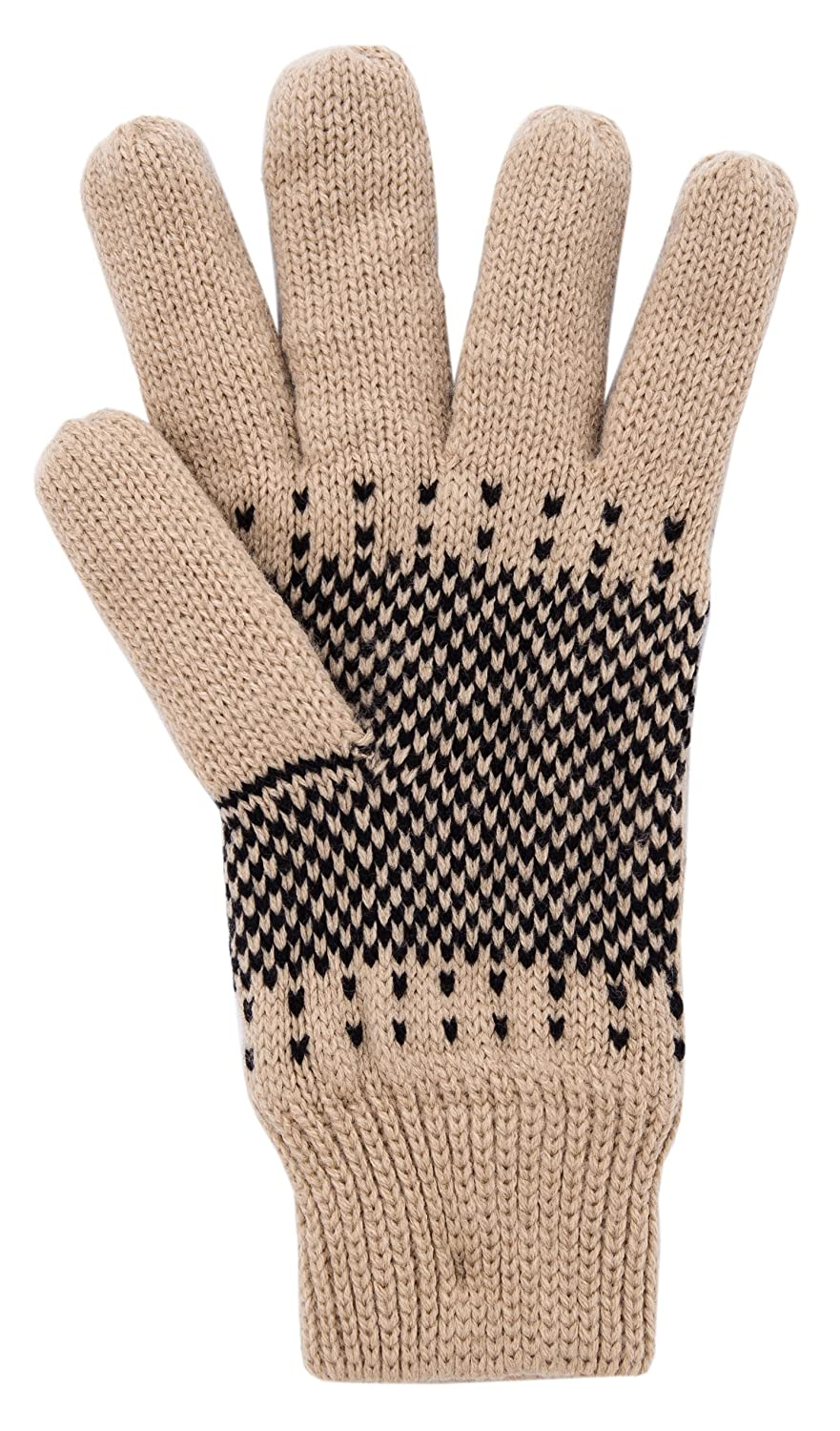 a98249046 Wantdo Womens Warm 3M Thinsulate Fleece Lining Knit Gloves Thick Snowflake  Pattern Winter Mittens One Size ...