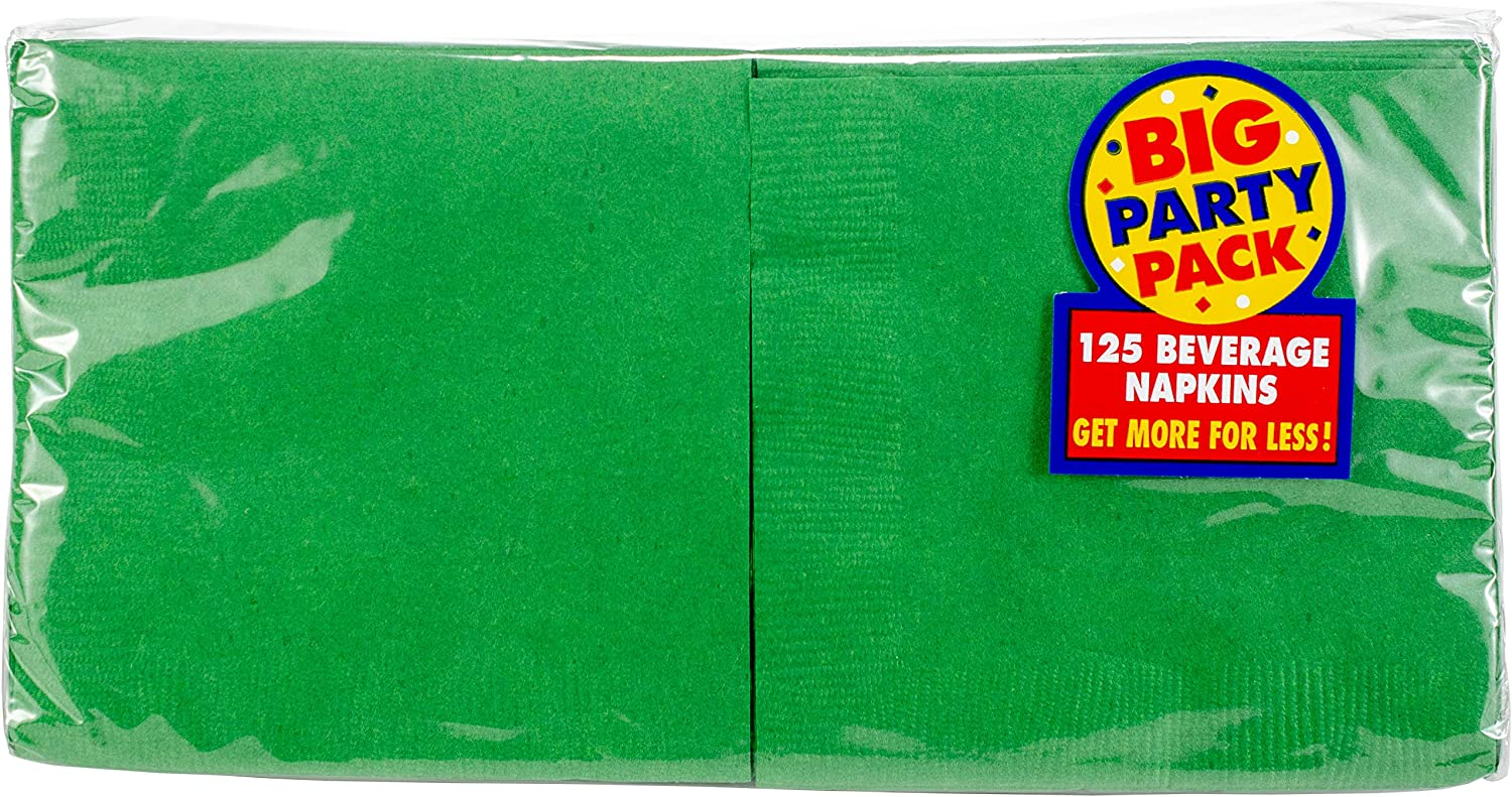 Big Party Pack Festive Green Beverage Napkins | Pack of 125 | Party Supply