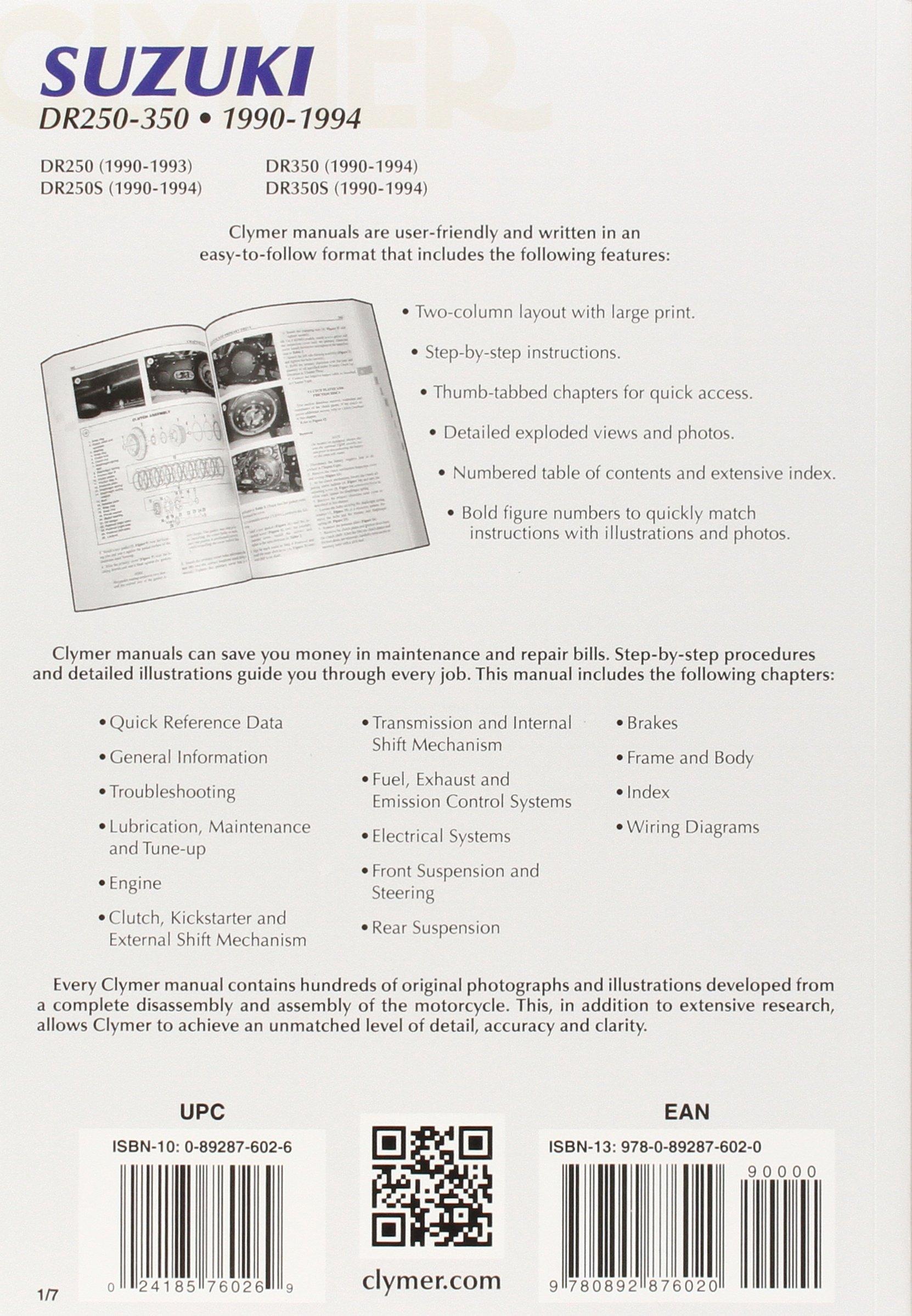 Clymer Suzuki DR250-350, 1990-1994: Maintenance, Troubleshooting, Repair  (CLYMER MOTORCYCLE REPAIR): Penton Staff: 9780892876020: Amazon.com: Books
